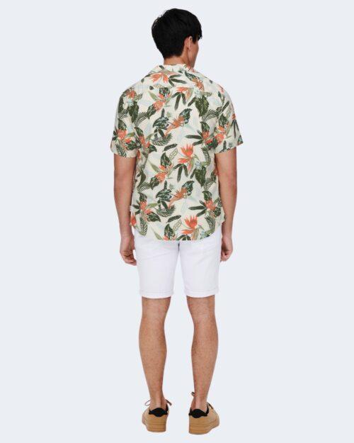 Camicia manica corta Only & Sons ONSKLOPP LIFE SS AOP VISCOSE SHIRT NOOS – 22019748 Bianco – 63323
