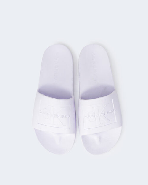 Ciabatte con fascia Calvin Klein Jeans SLIDE MONOGRAM DEBOS YW0YW00102 Bianco - Foto 2