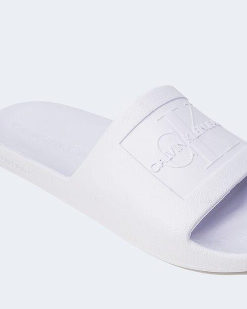Ciabatte con fascia Calvin Klein Jeans SLIDE MONOGRAM DEBOS YW0YW00102 Bianco - Foto 4