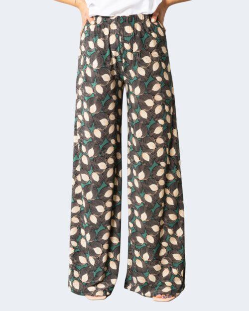 Pantaloni a palazzo Sandro Ferrone FOGLIE RIGHE Nero – 71704