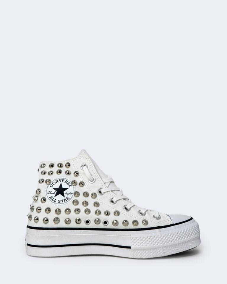 Sneakers Converse PLATFORM PERSONALIZZATA ALTA CON BORCHIE Bianco - Foto 1