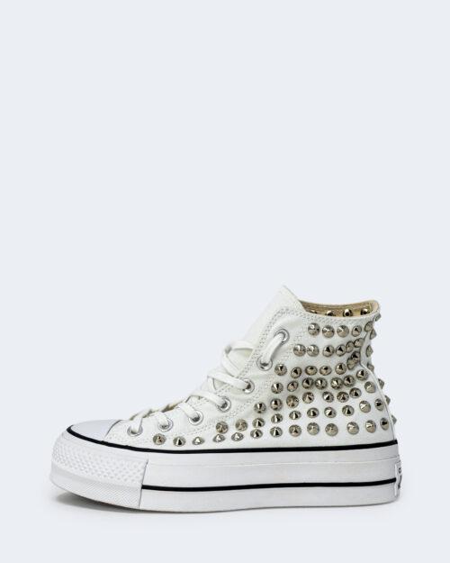 Sneakers Converse PLATFORM PERSONALIZZATA ALTA CON BORCHIE Bianco – 28979