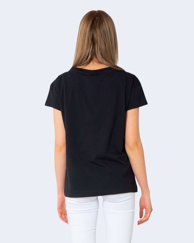 T-shirt Love Moschino STAMPA LOGO VERTICALE Nero - Foto 2