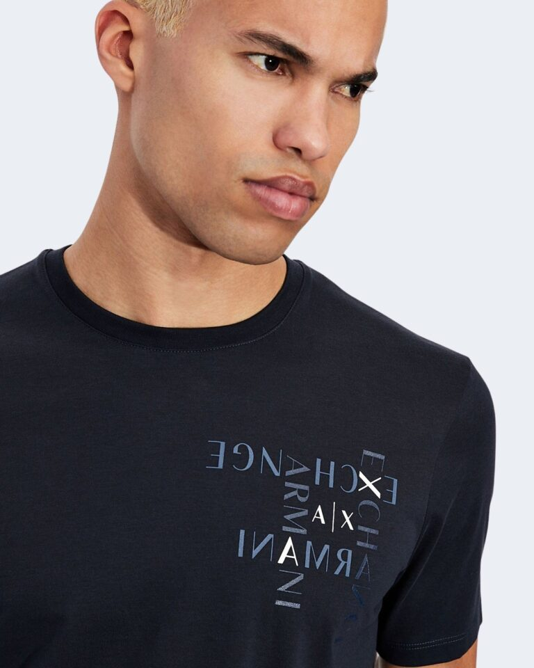 T-shirt Armani Exchange LOGO CRUCIVERBA Blu - Foto 2