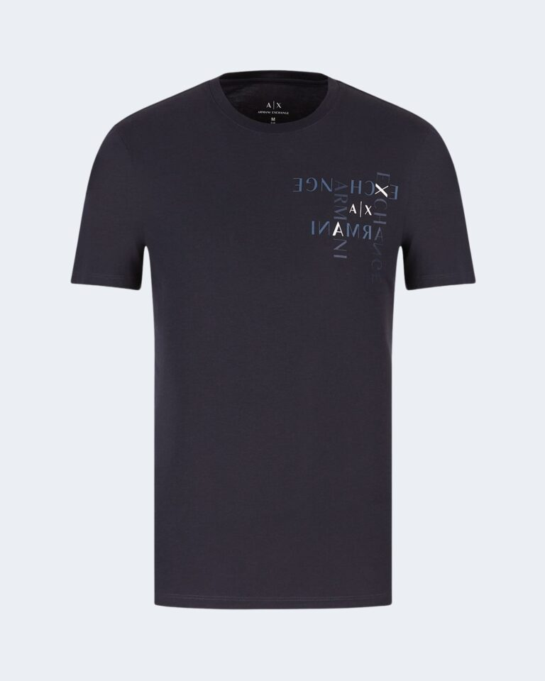 T-shirt Armani Exchange LOGO CRUCIVERBA Blu - Foto 4