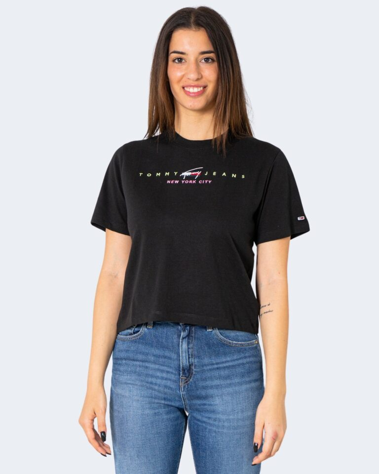 T-shirt Tommy Hilfiger Jeans CROP MODERN LOGO Nero - Foto 1