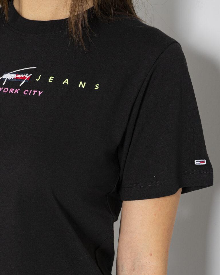 T-shirt Tommy Hilfiger Jeans CROP MODERN LOGO Nero - Foto 2