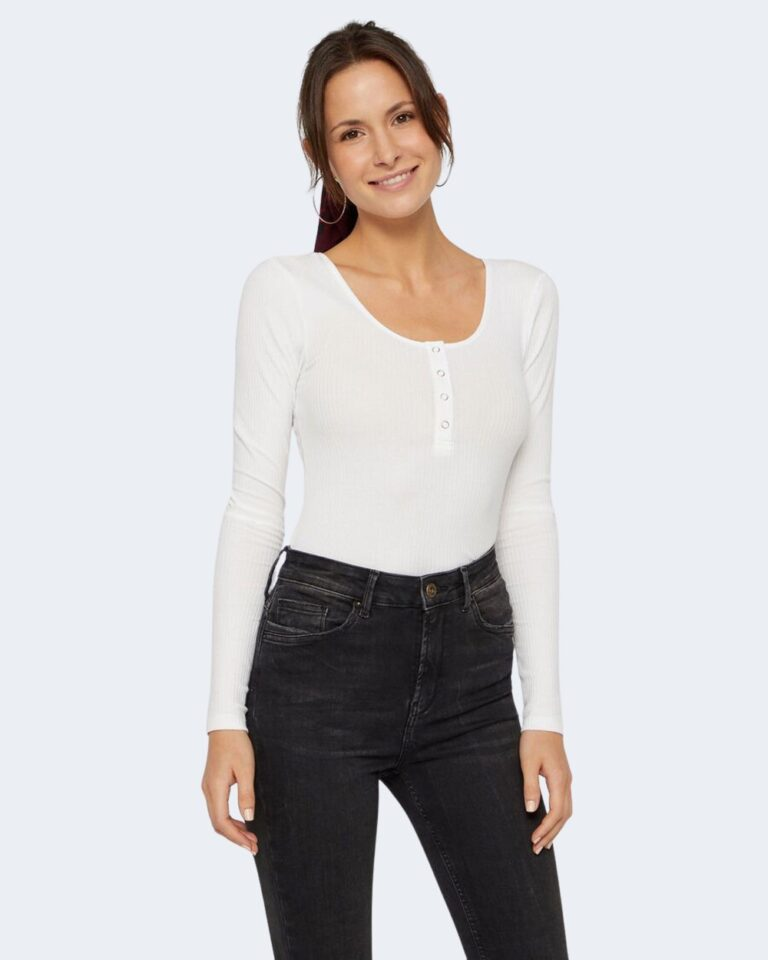 T-shirt manica lunga Pieces Kitte LS Top Noos BC Color Bianco - Foto 1