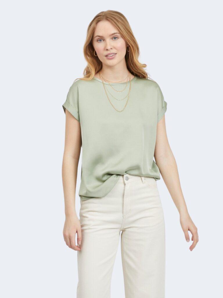 T-shirt Vila Clothes VIELLETTE S/S SATIN TOP/SU - NOOS Verde - Foto 1