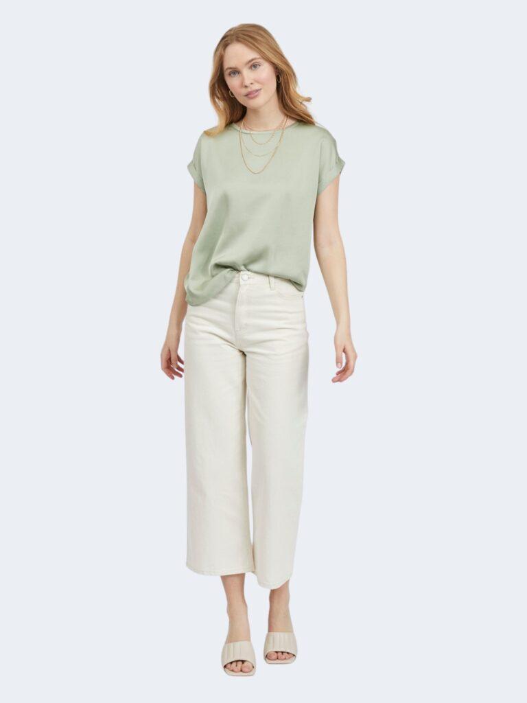 T-shirt Vila Clothes VIELLETTE S/S SATIN TOP/SU - NOOS Verde - Foto 2