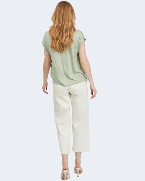 T-shirt Vila Clothes VIELLETTE S/S SATIN TOP/SU - NOOS Verde - Foto 4