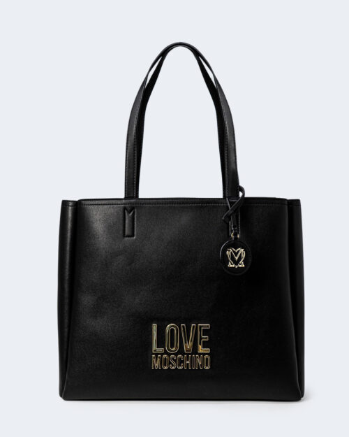 Borsa Love Moschino Shopper Gold Metal Logo Nero – 72396