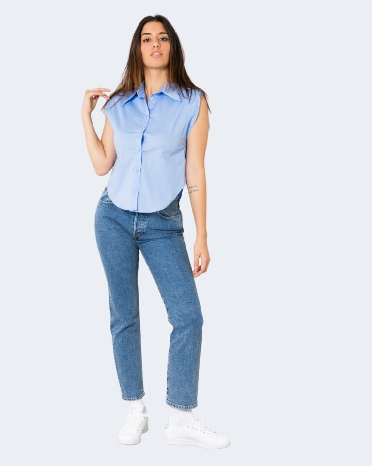 Camicia manica corta Rinascimento TINTA UNITA Azzurro - Foto 2