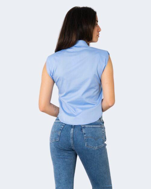 Camicia manica corta Rinascimento TINTA UNITA Azzurro - Foto 3