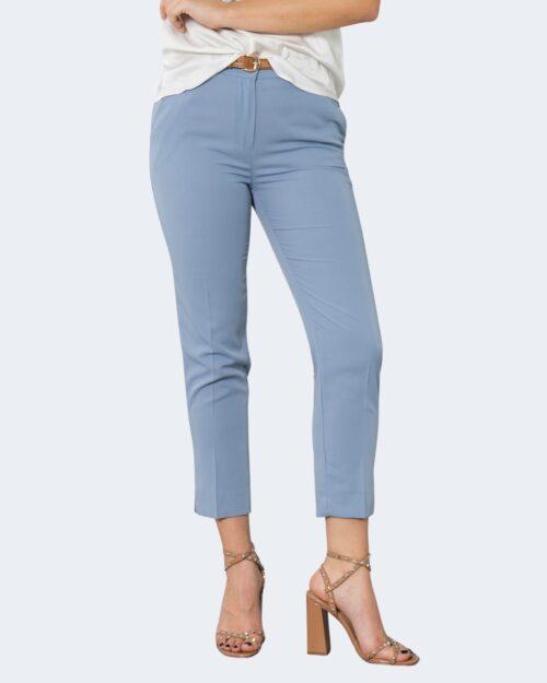 Pantaloni a sigaretta Rinascimento CON CINTURA Celeste – 72754