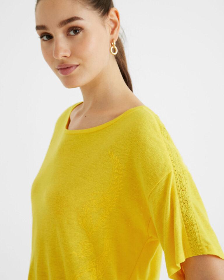 T-shirt Desigual CLEMENTINE Giallo - Foto 4