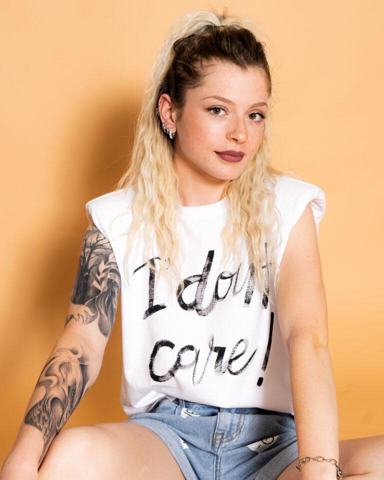 T-shirt GocciART JEN LIFE S/L SHOULDERPAD ART SCRITTA Bianco - Foto 1