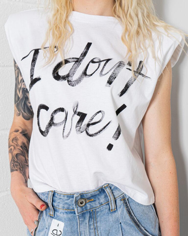 T-shirt GocciART JEN LIFE S/L SHOULDERPAD ART SCRITTA Bianco - Foto 3