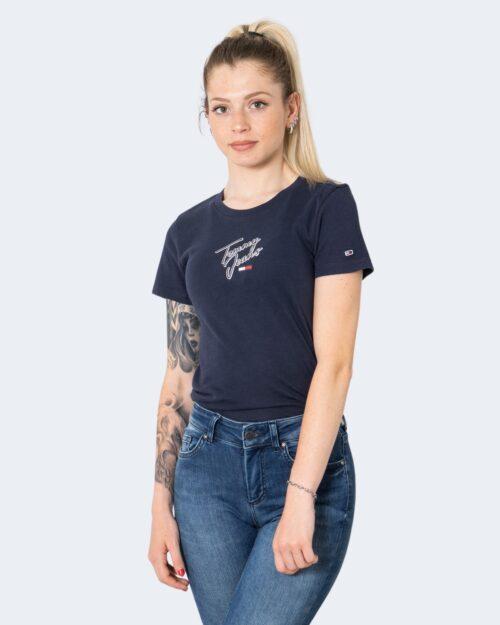 T-shirt Tommy Hilfiger SKINNY SCRIPT Blu – 72165