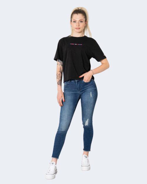 T-shirt Tommy Hilfiger TJW CROP MULTI LINEA DW0DW10437 Nero – 72179
