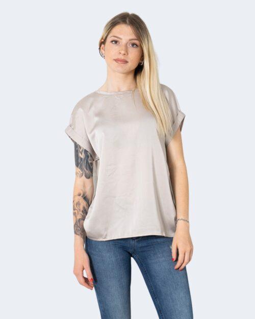 T-shirt Vila Clothes VIELLETTE S/S SATIN TOP/SU - NOOS Beige - Foto 1