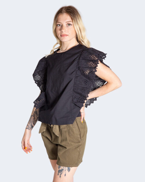Canotta Only SANNE S/S BRODERIE TOP JRS Nero – 74162