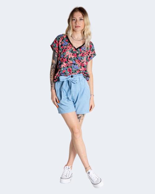 T-shirt Only TENNA S/S V-NECK RIB TOP BE WVN Nero – 74174