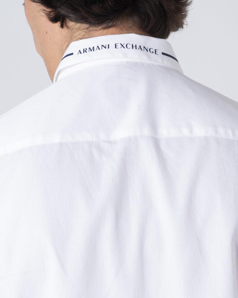 Camicia manica lunga Armani Exchange Colletto riga contrasto Bianco - Foto 5