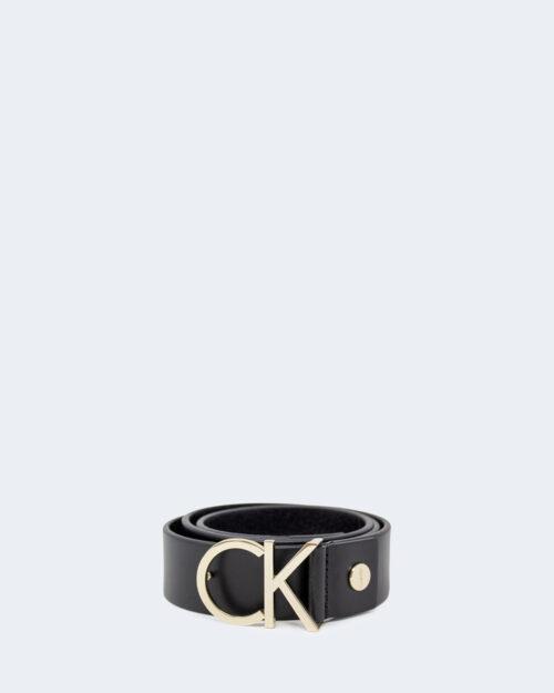Cinta Calvin Klein Ck Adj Logo Belt Light Gold Buckle Nero – 39023