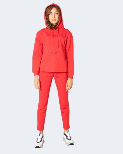 Felpa con cappuccio Love Moschino HALF CUORE  GRANDE Rosso – 74204