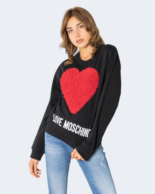 Felpa senza cappuccio Love Moschino CUORE GRANDE RILIEVO Nero – 74206
