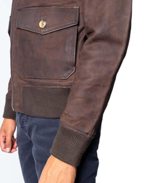 Giacchetto Only & Sons LAUST LEATHER JACKET Marrone - Foto 5