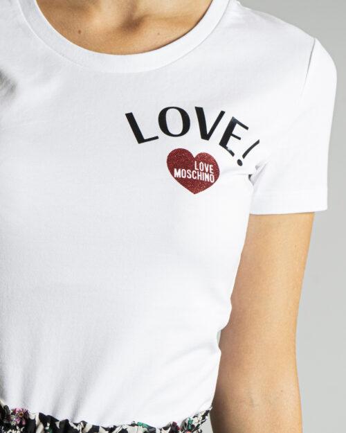 T-shirt Love Moschino LATO CUORE LOGO LOVE! Bianco – 76659