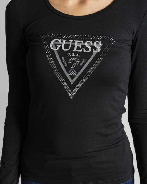 T-shirt manica lunga Guess LS CN AMALUR TEE Nero – 74418