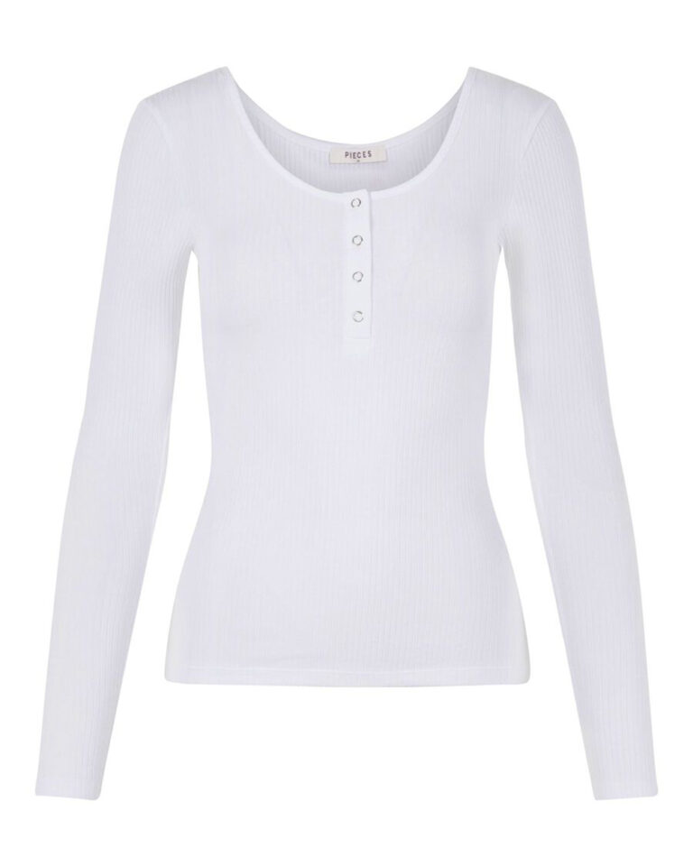 T-shirt manica lunga Pieces Kitte LS Top Noos BC Color Bianco - Foto 5
