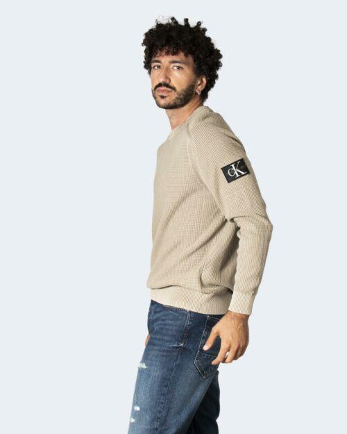 Maglione Calvin Klein MONOGRAM BADGE Beige – 71958