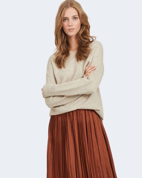 Maglia Vila Clothes VIRIL HIGH LOW Beige – 78668