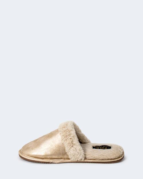 Pantofole Ralph Lauren GOLD METALLIC SUMMIT SCUFF Beige – 77794