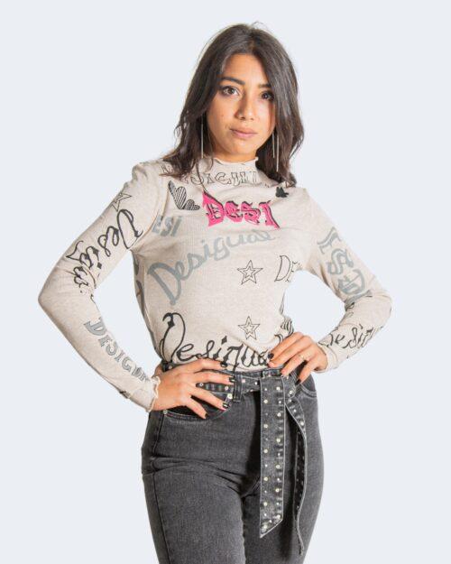T-shirt manica lunga Desigual lettering Beige – 76991