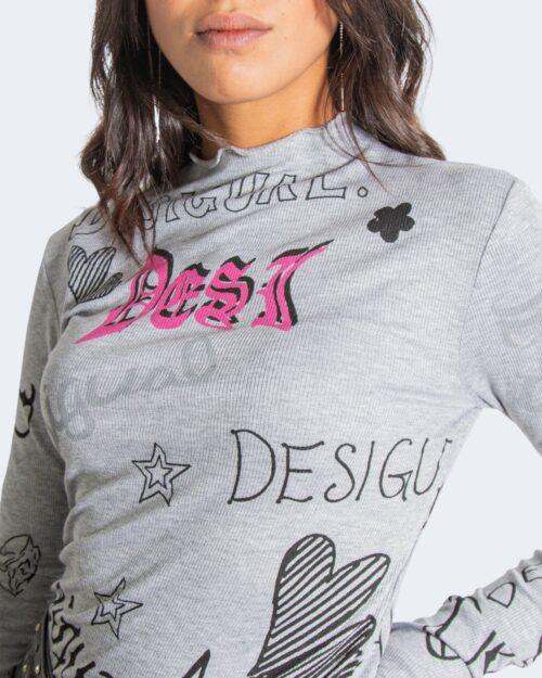 T-shirt manica lunga Desigual lettering Grigio Chiaro – 76991