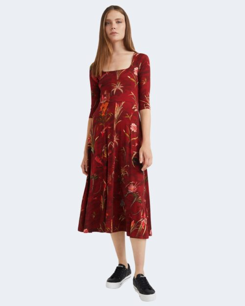 Vestito midi Desigual FLOWERS Bordeaux – 76464