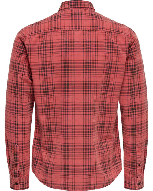 Camicia manica lunga Only & Sons KENNETH REG ACID WASHED CHECK SHIRT Rosso – 21919