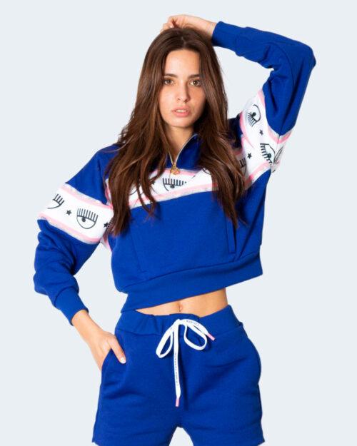 Felpa senza cappuccio Chiara Ferragni 307 MAXI LOGOMANIA Azzurro – 78039