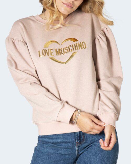 Felpa senza cappuccio Love Moschino APPLY ON BAG Rosa Cipria – 78002