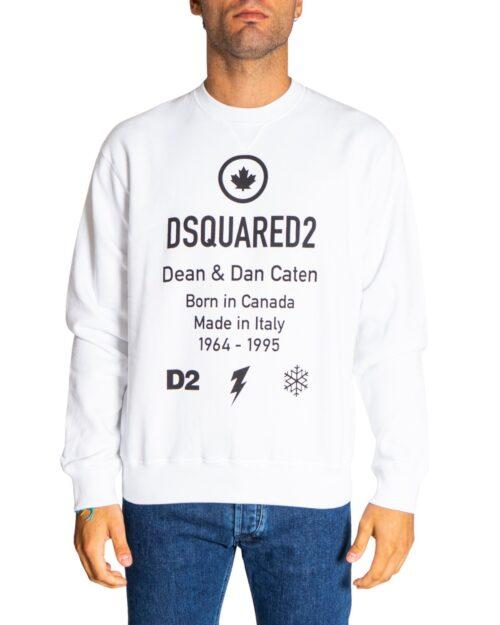 Felpa senza cappuccio Dsquared2 BORN IN CANADA LOGO Bianco - Foto 1