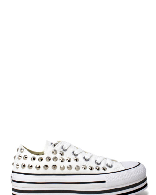 Sneakers Converse PLATFORM PERSONALIZZATA NEW BASSA CON BORCHIE Bianco – 28982