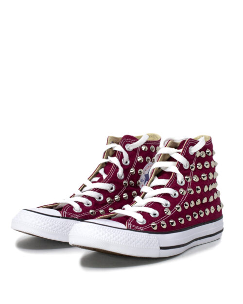 Sneakers Converse PERSONALIZZATA COLOR ALTA CON BORCHIE Bordeaux – 28978