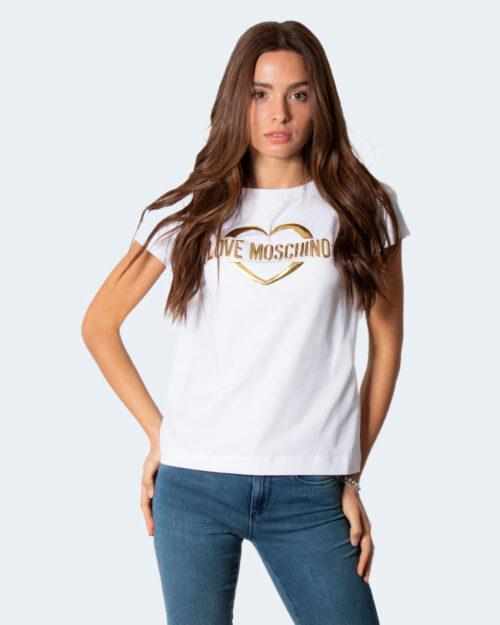 T-shirt Love Moschino LOGO CUORE ORO Bianco – 79406